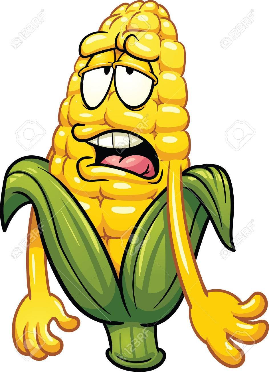 943x1300 Bored Cartoon Corn. Vector Clip Art Illustration With Simple