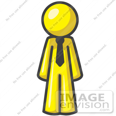 450x450 Clip Art Graphic Of A Yellow Guy Character Wearing A Tie