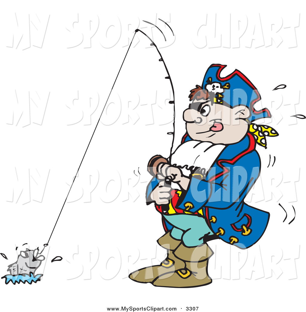 1024x1044 Sports Clip Art Of A Cartoon Pirate Guy Fishing By Dennis Holmes