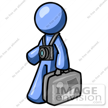 450x450 Clip Art Graphic Of A Blue Guy Character Touring With A Camera
