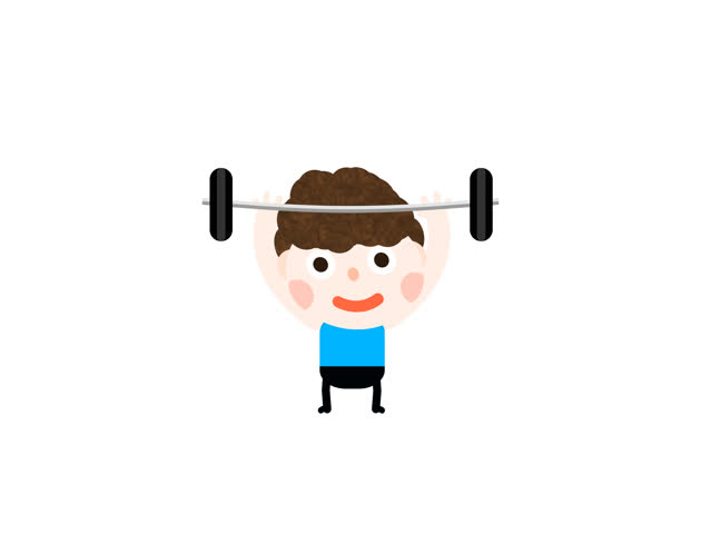 630x480 Funny Cartoon Animation Little Boy Kid Lifting Weight. Man Doing