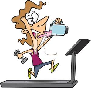300x289 Gym Junkie Drinking A Power Shake While Running On The Treadmill