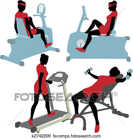 450x470 Clip Art Of Women On Gym Fitness Exercise Machines K2742209