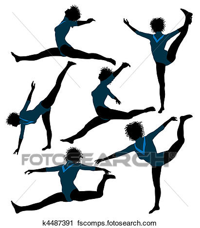 411x470 Clipart Of Female African American Gymnast Illustration Silhouette