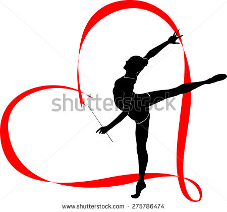 450x419 Girl Practicing Ribbon Rhythmic Gymnastics Gymnastics Clipart