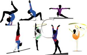 300x189 Colorful Cartoon Of Gymnasts Performing
