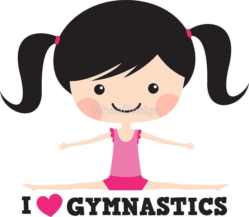 800x697 I Love Gymnastics Cute Cartoon Girl Doing The Splits Stickers By