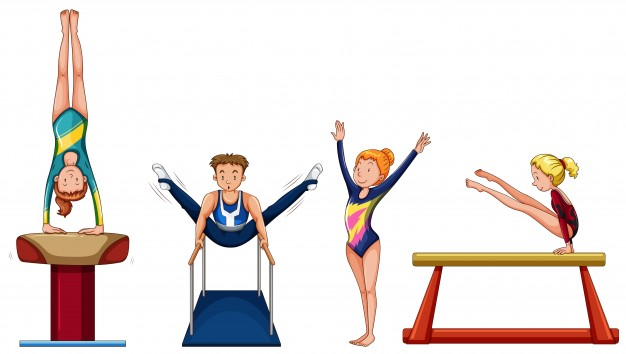 626x354 People Doing Gymnastics On Different Equipment Illustration Vector
