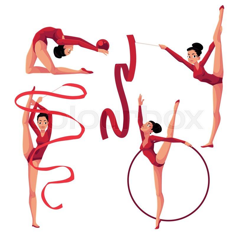 800x800 Set Of Beautiful Girl Doing Rhythmic Gymnastics With Ribbon, Ball