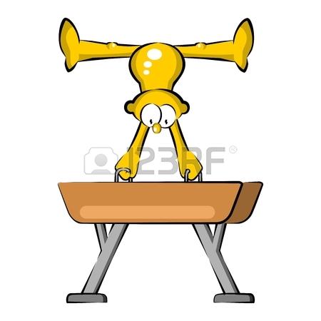 450x450 Artistic Gymnastics Athlete In Pommel Horse. Cartoon Olympics