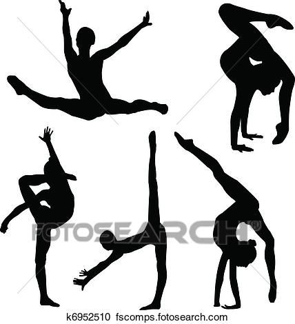 428x470 Clipart Of Gymnastics Girl Silhouette K6952510