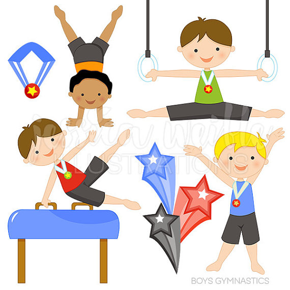 570x570 Boys Gymnastics Cute Digital Clipart By Jwillustrations On Etsy
