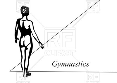 400x283 Outline Of Gymnast (Back View) Royalty Free Vector Clip Art Image