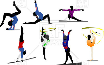 400x252 Colorful Silhouettes Of Women Gymnast Royalty Free Vector Clip Art