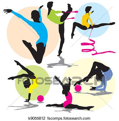 450x458 Clipart Of Set Rhythmic Gymnastics Silhouettes K9055812