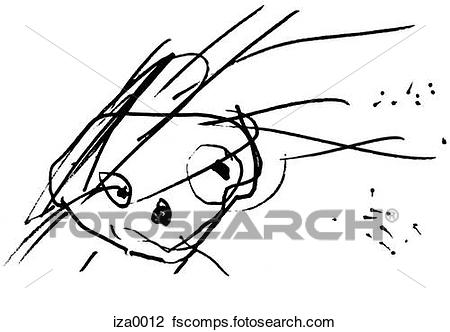 450x332 Clip Art Of A Black And White Childlike Drawing Of A Human Face