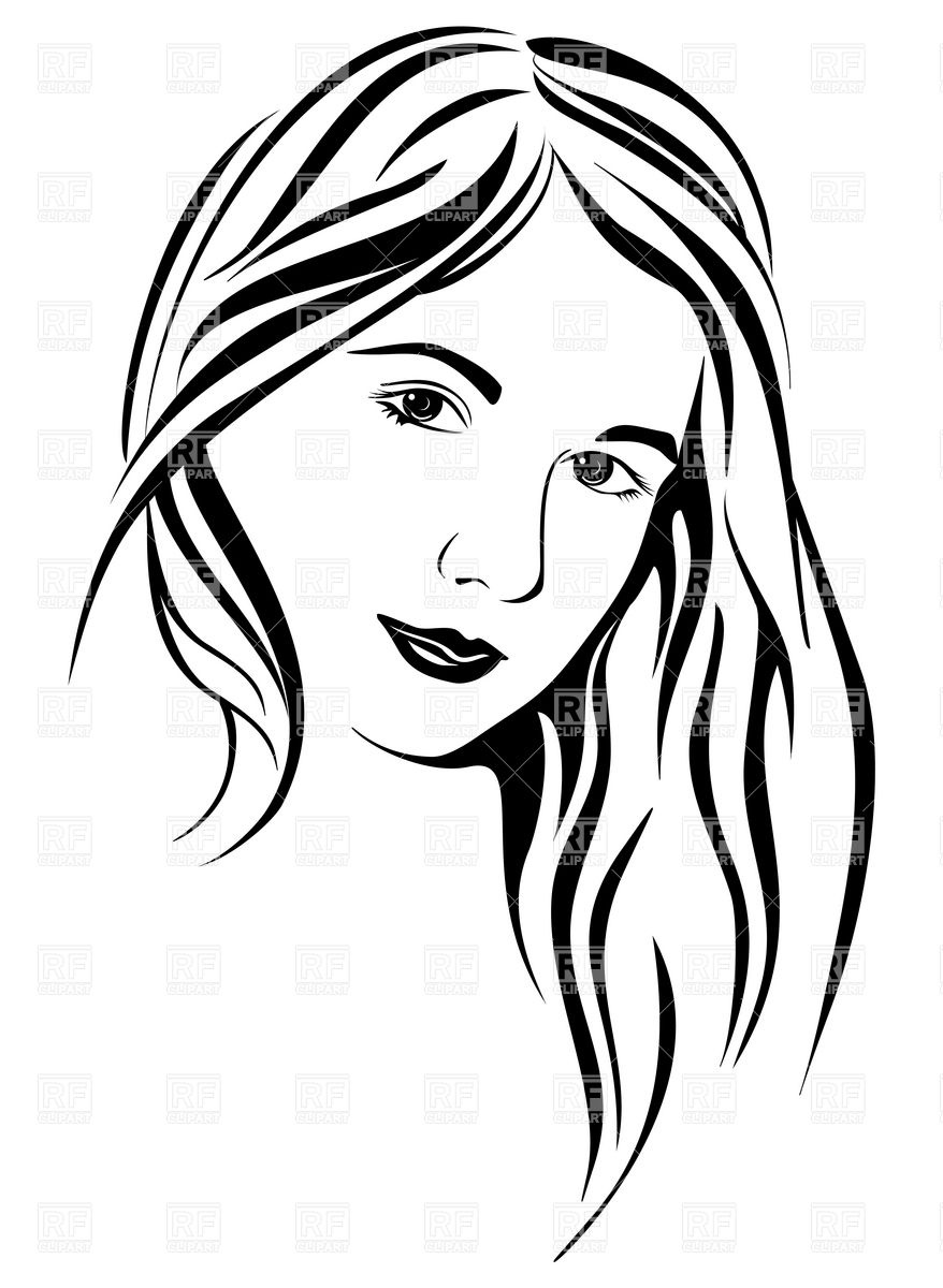 878x1200 Face Of Young Woman With Long Hair Royalty Free Vector Clip Art
