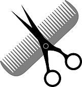 161x170 Clip Art Of Salon Style Hair Cut Scissors Amp Curls Symbol K1543578