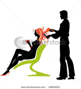 271x300 Art Image A Woman Drinking Coffee And Getting Her Hair Cut