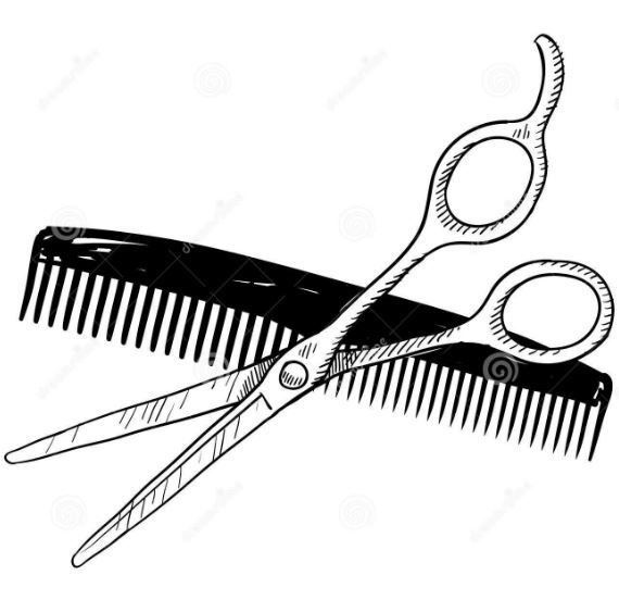 Hair Scissors And Comb Clipart