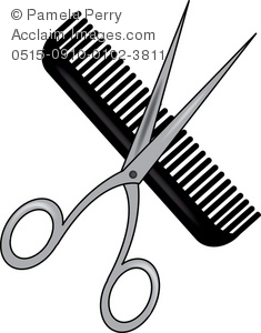 235x300 Art Illustration Of A Pair Of Scissors An A Comb