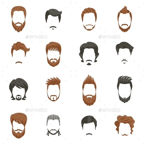 590x590 Men Hairstyle Icons Set Men Hairstyles, Icon Set And Icons