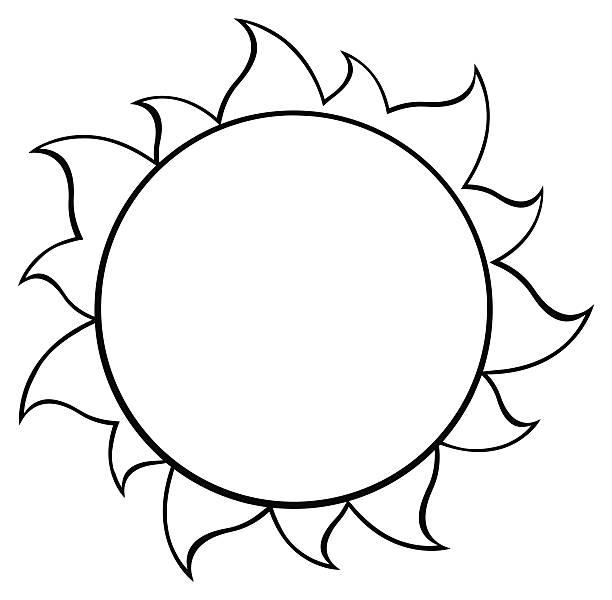 612x600 Black And White Sun Clipart