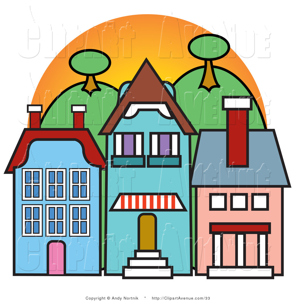 1024x1044 Avenue Vector Clipart Three Store Fronts In A Town In Front
