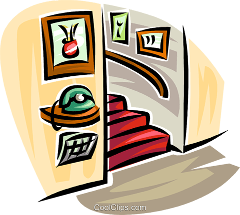 480x431 Telephone In A Hall With Stairs Royalty Free Vector Clip Art