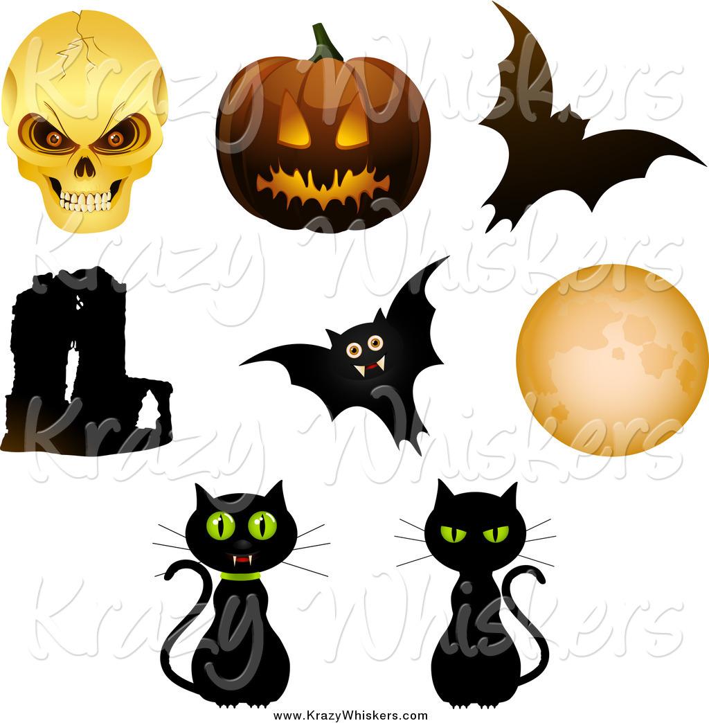 1024x1044 Critter Clipart Of Halloween Objects Skull, Pumpkin, Bats, Cats
