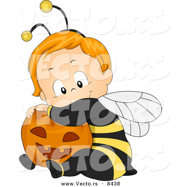 600x620 Cartoon Vector Of A Happy Halloween Baby Boy Wearing A Bee Costume