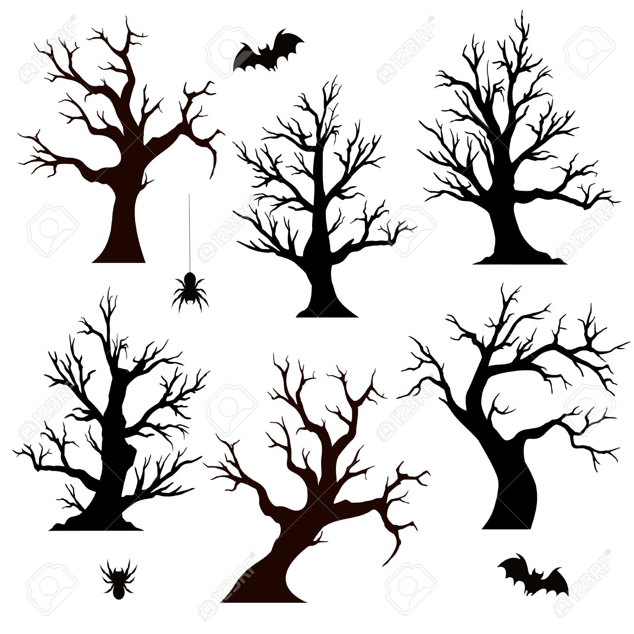 1300x1300 Halloween Trees, Spiders And Bats On White Background Royalty Free