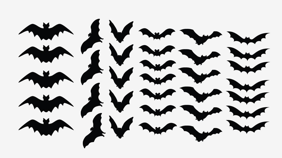 1110x624 Scary Bats Halloween Decal Set Of 34 Bats