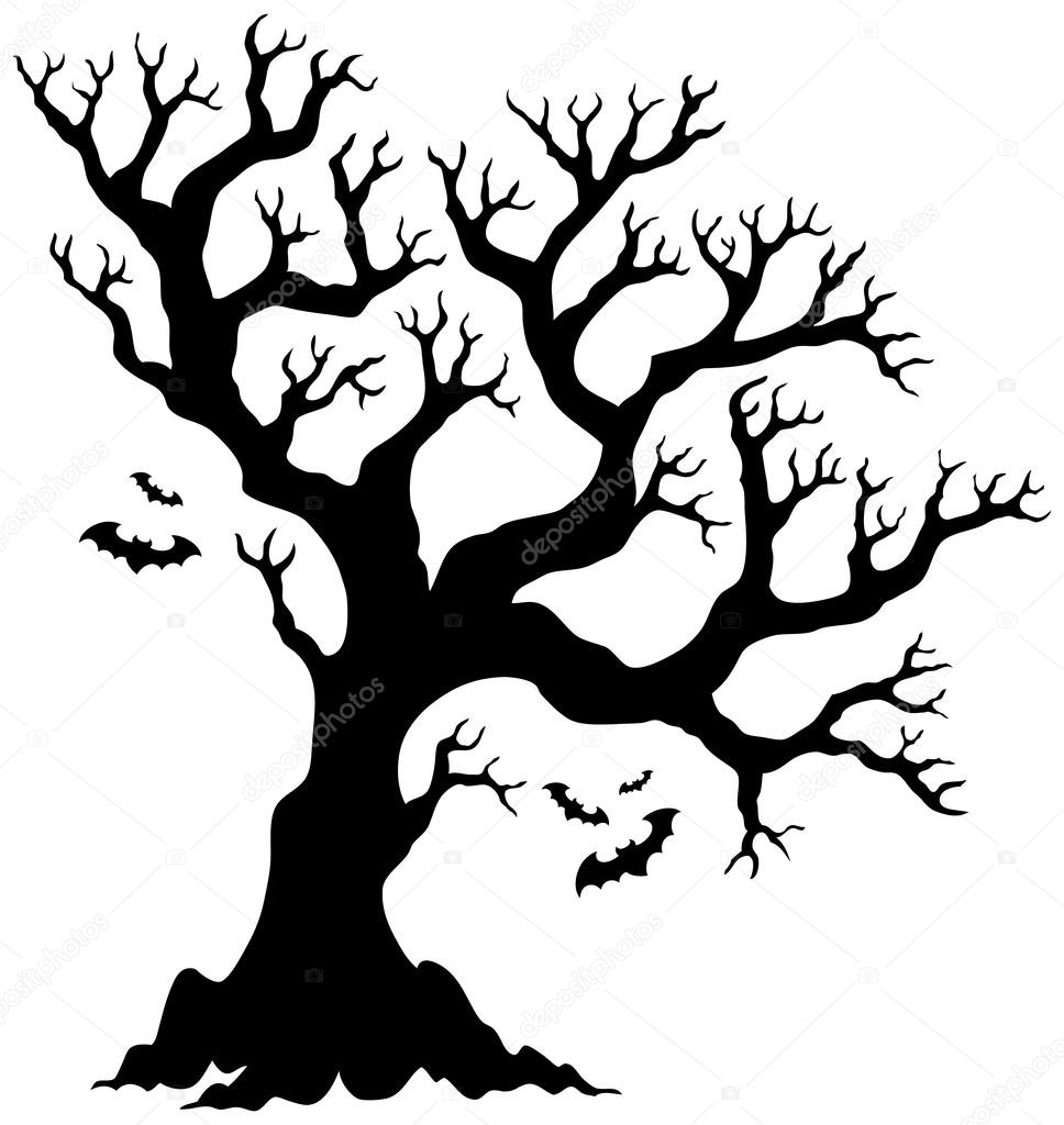 968x1024 Silhouette Halloween Tree With Bats Stock Vector Clairev