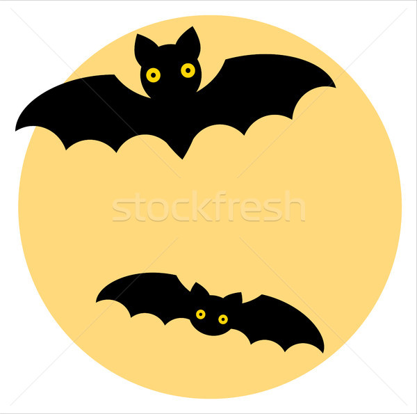 600x595 Vector Drawing Of A Moon With Bats In Cartoon Style For Halloween