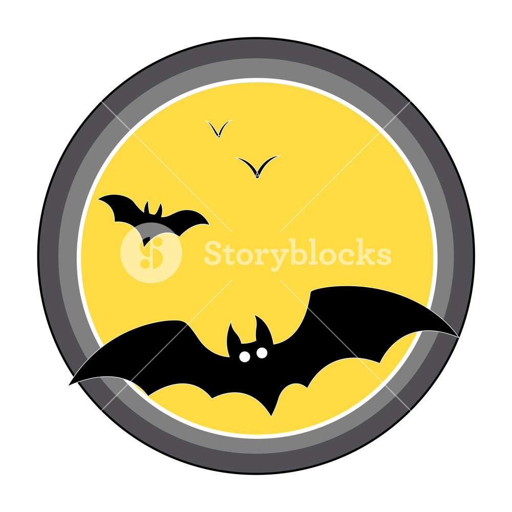 1000x1000 Bats Flying Over Full Moon