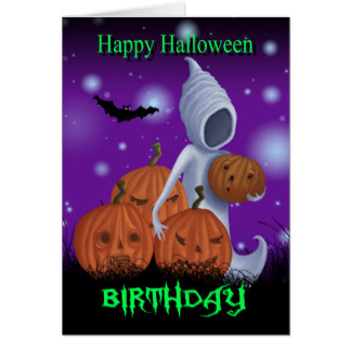 324x324 Halloween Birthday With Pumpkin Greeting Cards