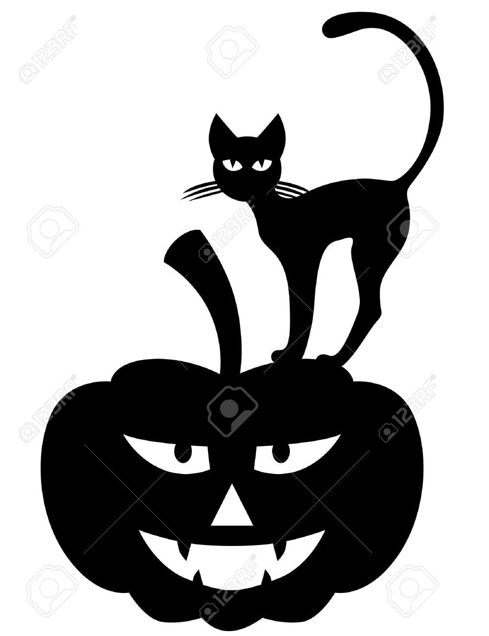 999x1300 Vector Illustrations Of Halloween Silhouette Black Cat On Pumpkin