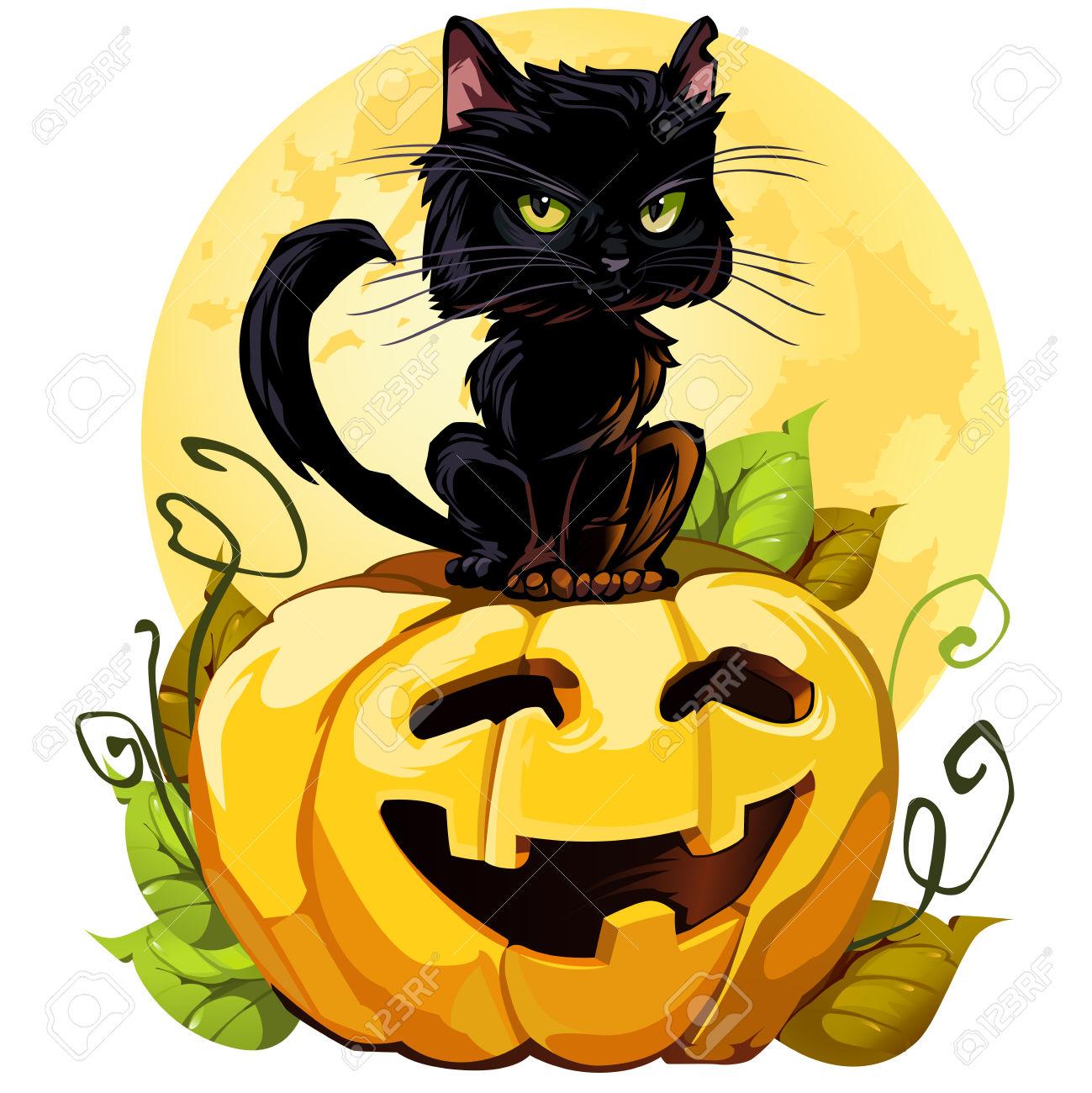 1299x1300 Black Cat Clipart Halloween Pumpkin