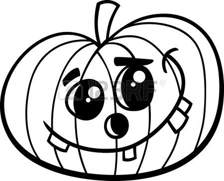 450x363 Black And White Cartoon Illustration Of Jack Lantern Halloween