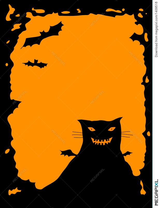 618x800 Halloween Border With Cat Illustration 1409518
