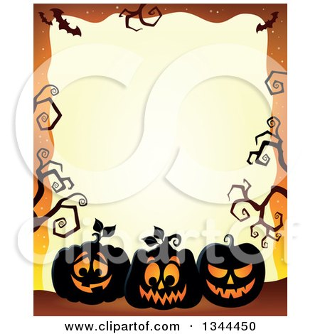 450x470 Clipart Of A Sketched Black And White Evil Halloween Jackolantern