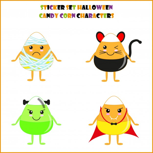 626x626 Halloween Candy Corn Set Character Suitable For Halloween Sticker
