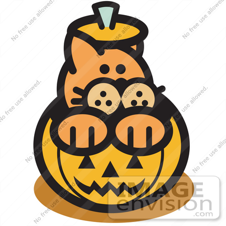 450x450 Royalty free Cartoon Clip Art of an Orange Cat Inside A Halloween