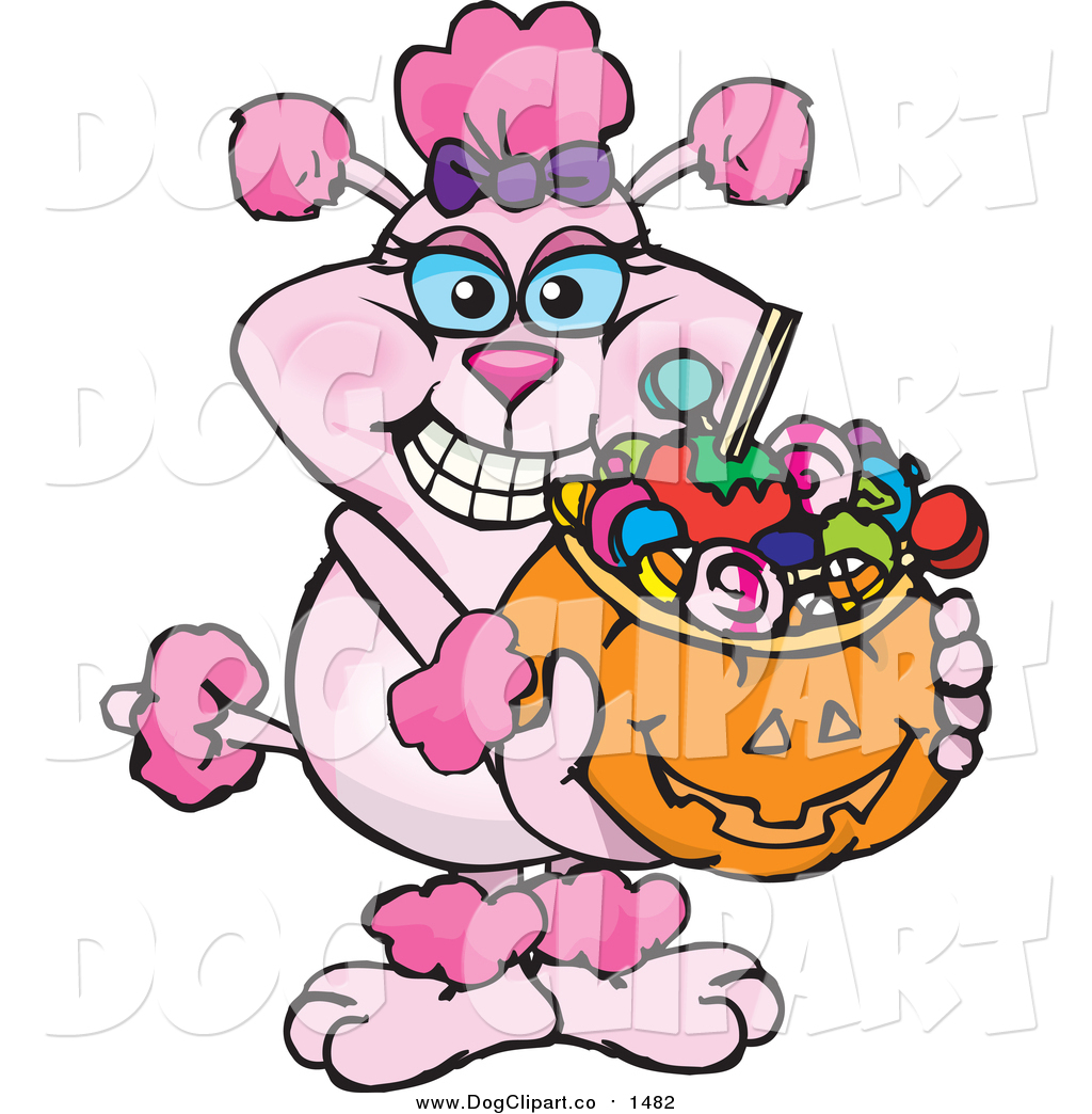 1024x1044 Vector Cartoon Clip Art of a Pink Poodle Holding a Pumpkin Basket