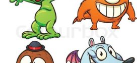 272x125 green cartoon monster. vector clip art illustration with simple on
