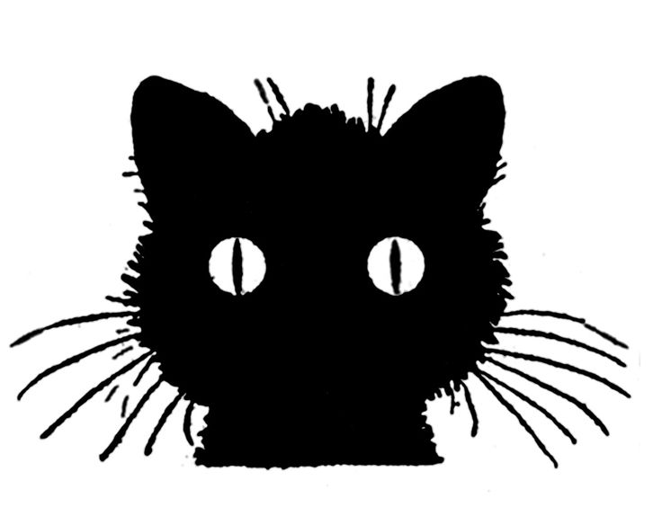 736x574 Vintage Halloween Cat Clipart
