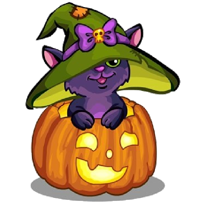 400x400 Cat With Pumpkin Cartoon Hallo