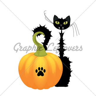 325x325 Halloween Cat Silhouette With Moon Gl Stock Images
