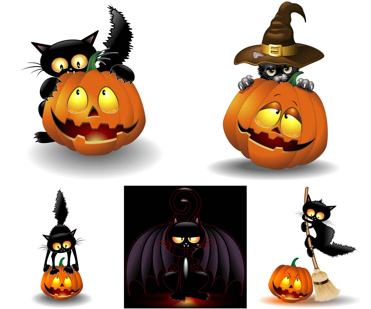 1200x1000 Halloween Cat With Pumpkin Vector Vector Graphics Blog